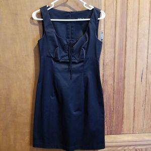 Black Lace Up Mini Dress
